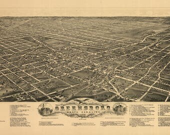 Greensboro NC Panoramic Map dated1891. This print is a wonderful wall decoration for Den, Office, Man Cave or any wall.