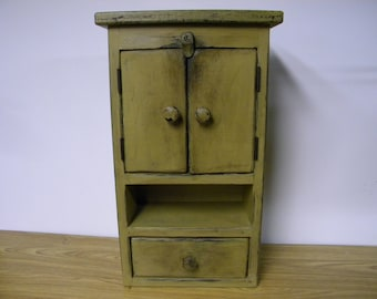 Freestanding / wall hanging primitive distressed cabinet,Olde Century Olde Forge Mustard