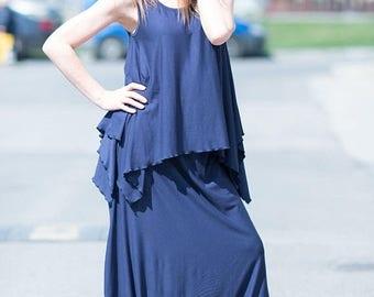 15% SUMMER SALE Maxi Top, Dark Blue Plus Size Asymmetrical Top, Maxi Tunic, Asymmetric Loose Cotton Tunic Top by EUGfashion