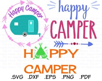 Happy Camper Svg Files, Camping Clipart, Travel Trailer Svg, Use With Silhouette and Cricut Software, Svg Instant Download, DXF File - CA441