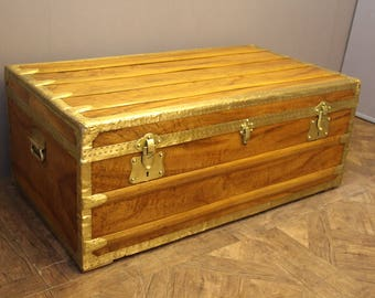 1900's Camphor Wood and brass Cabin Trunk
