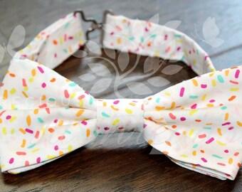 Boys Birthday Bow Tie- Toddler Boys Birthday Bow Tie- Sprinkles Bow Tie- White Bow tie- Ice Cream Bow Tie-  Special Occasion- Baby Boys