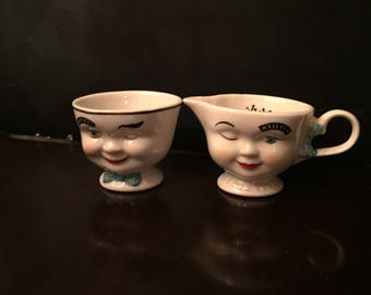 Bailey's Winking Creamer and Sugar Bowl Porcelain Two Creamer Piece Set 1996