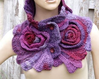 Crochet Scarf Roses Purple cowl Unique Capelet textured Freeform crochet Shadows Purple Womens scarf Neck Warmer Womens scarf scarf gift