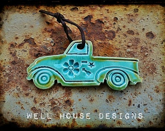 Vintage Turquoise Truck ornament
