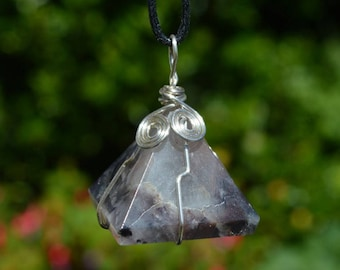 Amethyst Crystal Pyramid Pendant Wire Wrapped crystal on adjustable cord for meditation, healing and Reiki