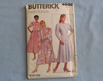 Butterick Sewing Pattern #4688, Belle France Dresses, Size 6, Uncut, 1987