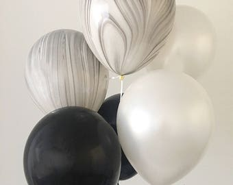 Marble Balloons Black and White Marble Balloons Agate Balloons Black Pearl White Marble Latex Balloons Black and White Party