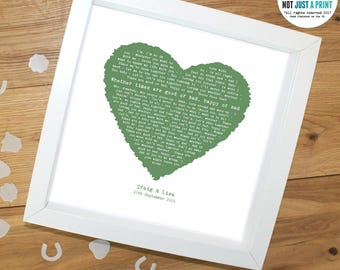 """Al Green """"Let's Stay Together"""" Vintage Heart Style Personalised Song Lyric Print - Ideal Wedding - Anniversary- Personal Gift for couple"""
