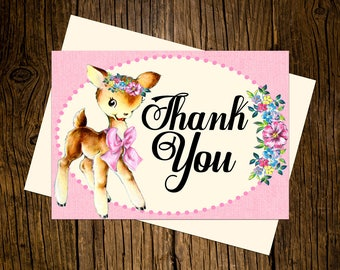 Deer Thank You Note Cards Custom Printed Handmade Stationery Set of 12 Woodland Pink Vintage Ecru