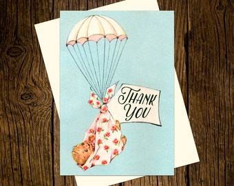 Baby Thank You Note Cards Custom Printed Handmade Stationery Set of 12  Blue Vintage Ecru Parachute