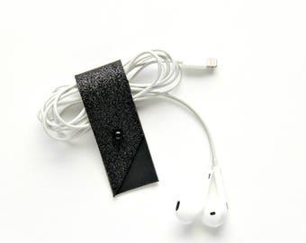 Earbud Holder, Modern Black Glitter, matte lining.  Earbuds case, Earbud Case, Earbud Holder, Cable organizer, Cable holder, black glitter.
