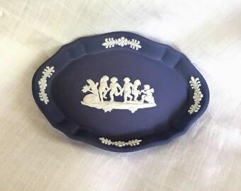 Wedgwood, Jasperware, Wedgwood Jasperware, Vintage Wedgwood Jasperware, Vintage Cobalt Blue, Vintage Cobalt Blue Oval Trinket Dish