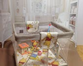 dolls house ooak handmade playpen and 7 tiny replica fisher price toys Winnie the Pooh stone grey  112 scale