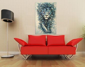 Lion painting, oil painting of Lion, lion painting by kampon