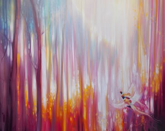 LARGE ORIGINAL Oil Painting - Nebulous Forest - a semi abstract landscape