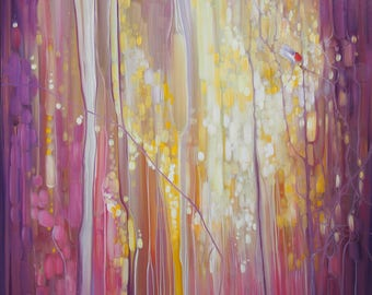 ORIGINAL Oil Painting - Robin's Song - a semi abstract, art nouveau style woodland painting