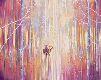 LARGE ORIGINAL Oil Painting - Manifestation - a winter woodland landscape with deer
