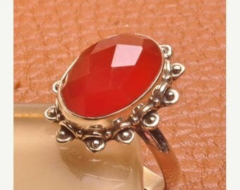 Sale Sterling Silver Faceted Natural Carnelian Stone RING - Size 6 Sterling Silver Ring Gemstone Ring- CARNELIAN - Natural Stone Ring -