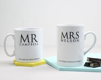 ON SALE Mug For Mr And Mrs; Personalised, gift for him, gift for her, wedding gift, valentines gift
