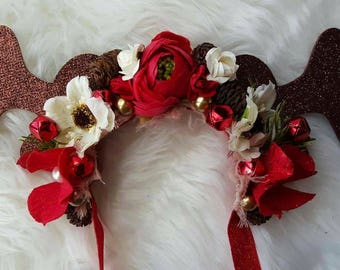 Floral Reindeer Antler Headband ~ Halo ~ Baby ~ Photo Props ~ Newborn ~ Crowns ~ Christmas ~ Winter ~ Accessories ~ CHOOSE YOUR COLOR