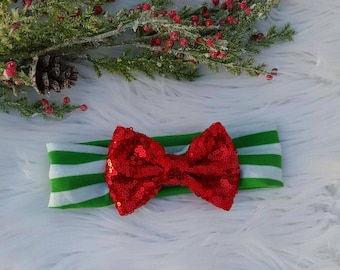 Holiday Sequin Bow Headband ~ Giltter ~ One Size  ~ Wrap ~ Nylon ~ Baby ~ Toddler ~ Girl ~ Photo Prop ~ Red ~ White ~ Green
