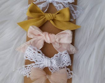 Hand tied Bows ~ Baby Headbands ~ Hair Clips ~ Country Chic Collection ~ Handmade ~