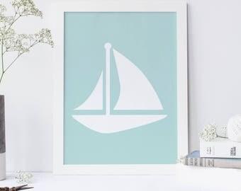 Sailboat Print, Boat Wall Art, Nautical Sailboat, Coastal Decor, Mint Printable, Boat Art Print Seaside Decor Seaside Print Digital Download