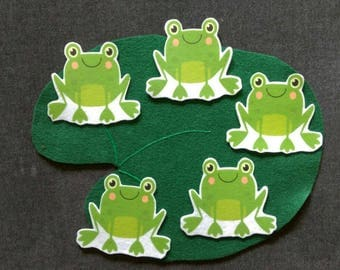 5 Green Frogs  // Felt Board Story // Flannel Board Story Set // Preschool // Teacher Story // Counting // Lily Pad // Friends
