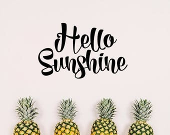 hello sunshine decal, summer decal, wall decal, sunshine decal, hello decal, summer decoration, wall decoration, wall decor, summer stickers