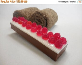 On Sale Chocolate Raspberry Soap - Mini Soap Loaf - Red Raspberry Soap - Fruity Soap - Dessert Soap - Chocolate Soap - Handmade Bulk Soap Gi