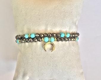 Pyrite crescent double stranded bracelet