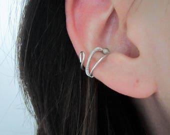 Ear cuff - bague d'oreille Wire Wapping - argent sterling - bijoux minimaliste