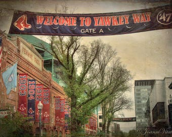 Yawkey Way Banner outside Fenway Park, Fenway Park Canvas, Boston Red Sox , Boston Sports Canvas, Red Sox Decor, Fenway Park Canvas