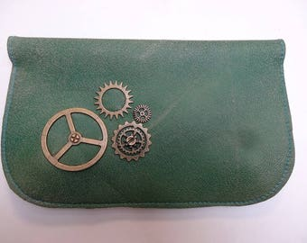 Steampunk gears and green leather tobacco pouch