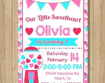 Valentine birthday invitation, Valentines invitation, Sweetheart Invitation, birthday invitation, Hearts Invitation