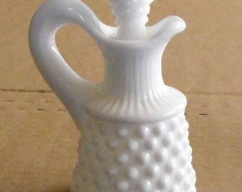 Fenton Hobnail Milkglass Small Cruet With Original Stopper