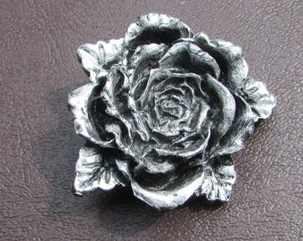 Silver and Black Rose Pin