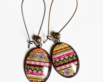Earrings * Aztec multicolored * ethnic tribal multicolor summer fairy carabochon glass cabochon