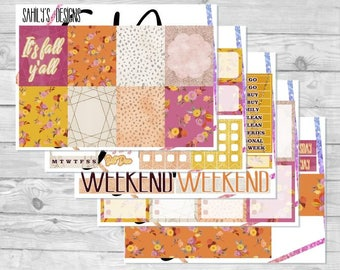 AUTUMN Week Set // Erin Condren // The Happy Planner // Sticker Kit // Autumn stickers// FALL  Stickers // sticker week set