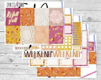AUTUMN Week Set // Erin Condren // The Happy Planner // Sticker Kit // Summer stickers// Spring  Stickers // sticker week s