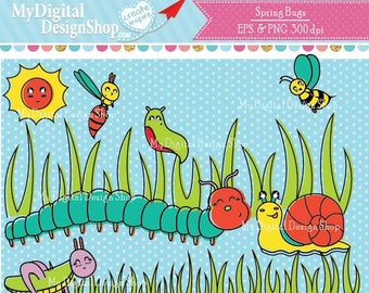 Spring Bugs Clipart,Vector EPS PNG ,Baby critters,Cute snail,Yellow caterpillar,Beetle, Grasshopper, ladybug image, worms, Butterfly, C083