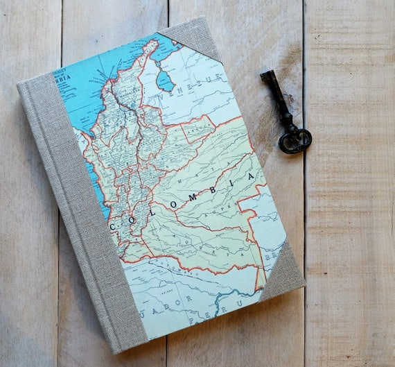 Travel Journal - Linen and Map Travel Journal - Choose Your Map