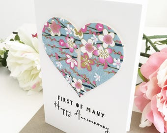 1st Anniversary Card, One Year Anniversary, Paper Anniversary, First of Many Happy Anniversary Gift for Couple Wife Husband Floral Sakura