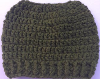 Crochet Bamboo Green Messy Bun hat