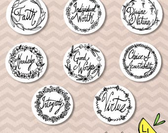 LDS Art, Young Women Values, Badge set, Black and White, Printable Art,Hand drawn,Coloring Page,YW Values,LDS Young Women,Printable Handouts