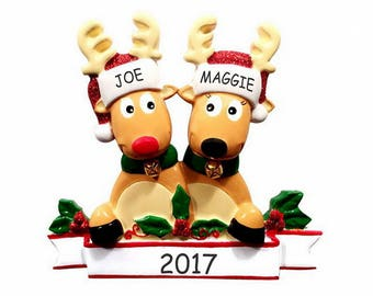 Personalized Cozy Reindeer Couples Christmas Ornament