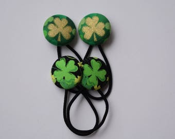 St Patrick Hair Accessories. Four Leaf Clovers. Gold Shamrock. Little Girl Accessories. St Pattys Day Luck. Hairband Elastics. Ponytail