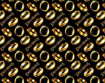 LOTR Fabric / The Hobbit Fabric / Lord of The Rings Fabric Rings Digitally Printed / Camelot 23220103J 1 Fabric By The Yard, Fat Quarters