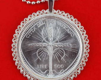 1968 Vatican 500 Lire BU Uncirculated 83.5% Silver Coin 925 Sterling Silver Necklace NEW - Wheat Ears Forming Radian Cross